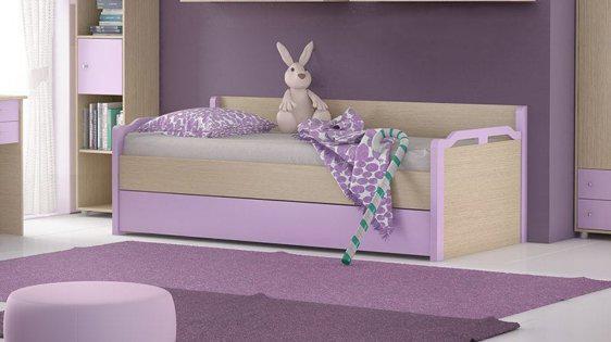 Καναπές κρεβάτι σε δρυς με λιλά απόχρωση και σχέδιο S-405004