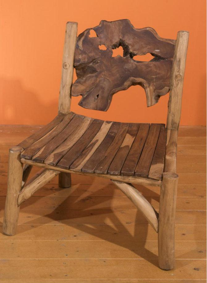 Καρέκλα Με Πλάτη Από Ρίζα Δέντρου Teak Ε-227015