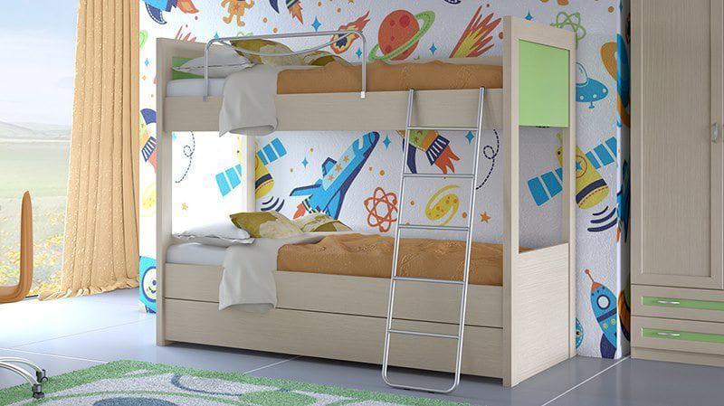 Κουκέτα για το παιδικό δωμάτιο σε δρυς με πράσινο S-050613