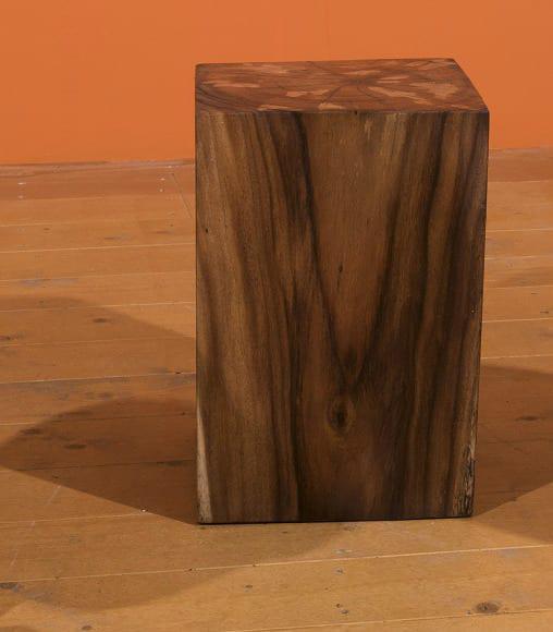 Τετράγωνο Σκαμπό  Από Μασίφ Ξύλο E-146544