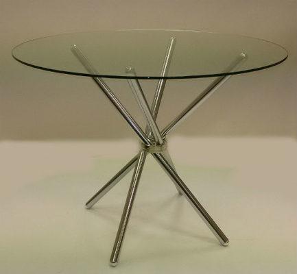 Τραπέζι κουζίνας γυάλινο στρογγυλό με διάμετρο 100εκ. Kouts-368