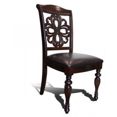 Ξύλινη καρέκλα με δερμάτινο κάθισμα G-135074