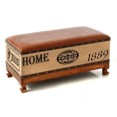 Καναπεδάκι Vintage με Δερματίνη Κάθισμα Η-300033