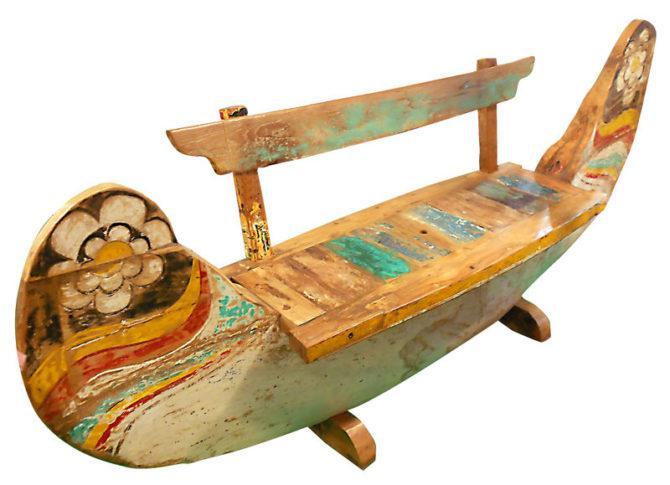 Ξύλινο Παγκάκι - Καναπές Σε Σχήμα Βάρκα E-146540