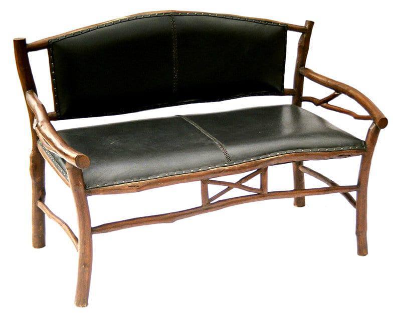 Ξύλινος Καναπές Με Μαύρο Δέρμα Ε-227038