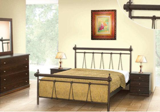 Μεταλλικό Κρεβάτι Με Σχέδιο Σχοινιά M-050640
