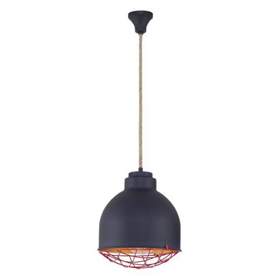 Μεταλλικό Μαύρο Φωτιστικό Με Σχοινί Κ-521041