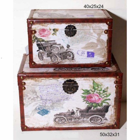 Ξύλινα Μπαουλάκια Vintage Σετ των 2 τεμαχίων P-300025