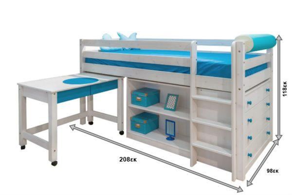 Υπερυψωμένο Κρεβάτι Για Γραφείο, Βιβλιοθήκη και Συρταριέρα Sa-280028