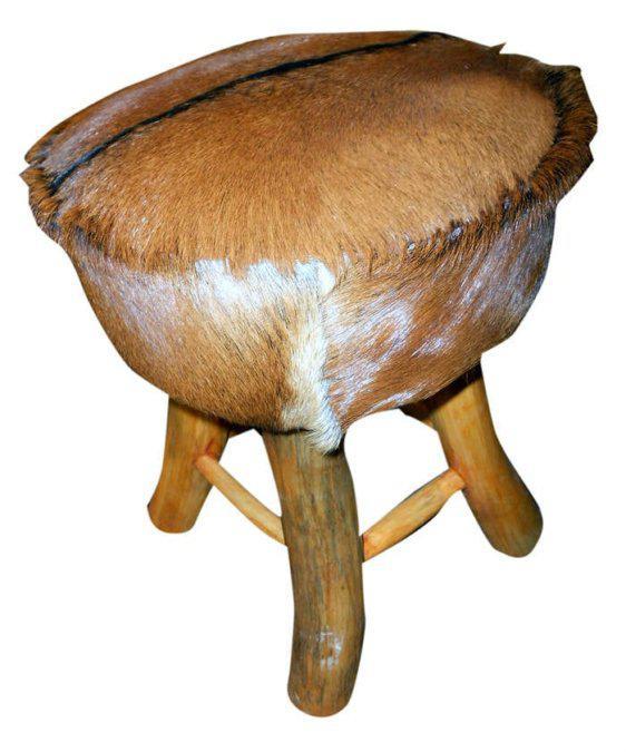 Μικρό Σκαμπό Με Γνήσιο Δέρμα Κατσίκας Ε-227041