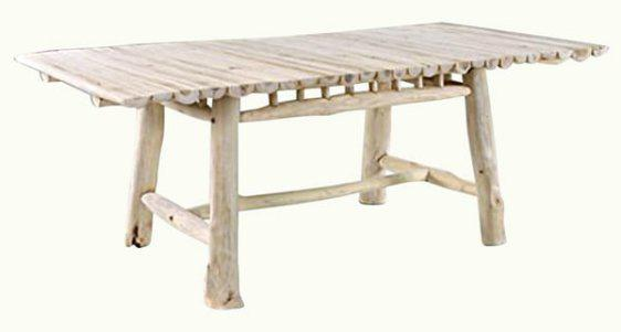 Ξύλινο Λευκό Τραπέζι Φαγητού Από Κορμούς Δέντρου Ε-227044