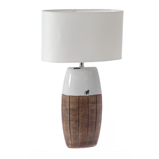 Πήλινο Λευκό-Καφέ Επιτραπέζιο Φωτιστικό Η-525043