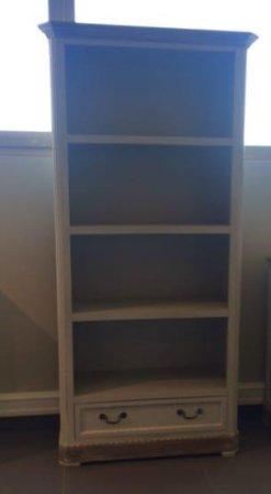 Βιβλιοθήκη Με Συρτάρι Σε Λευκή Πατίνα j-143552