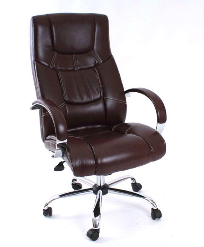 Πολυθρόνα Γραφείου Με Καφέ Δερματίνη Α-080363