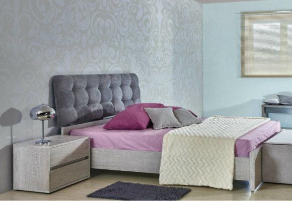 Ξύλινο Κρεβάτι Με Καπιτονέ Κεφαλάρι  Α-050446