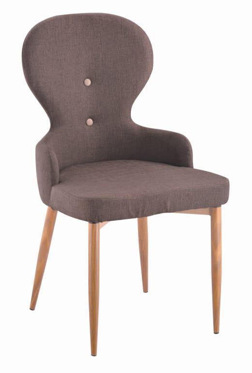 Υφασμάτινη Καρέκλα Με Μεταλλικά Δρύινα Πόδια Και Κυκλική Πλάτη Κ-190325