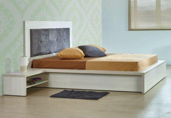 Κρεβάτι Με Ξύλο και Ύφασμα Στο Κεφαλάρι A-050445