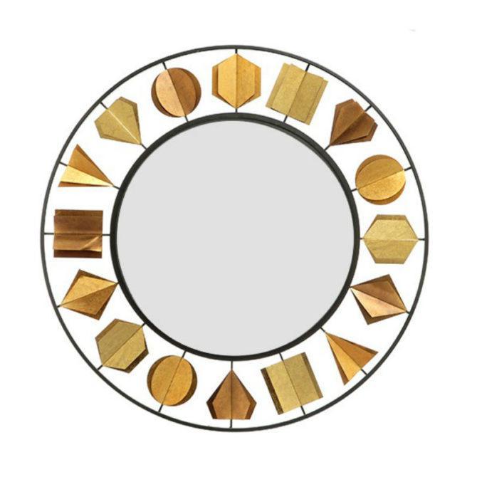 Στρογγυλός Καθρέφτης Με Χρυσά Σχήματα Η-330095
