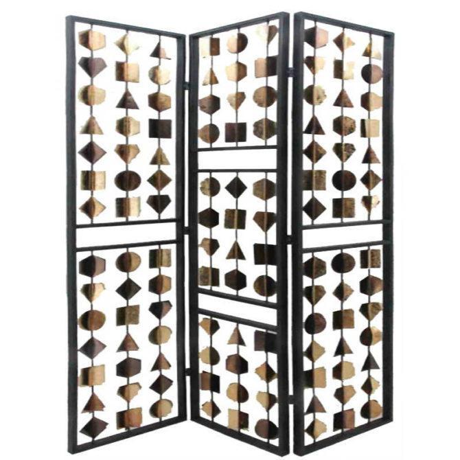 Μεταλλικό Παραβάν Με Χρυσά Γεωμετρικά Σχήματα Η-148001