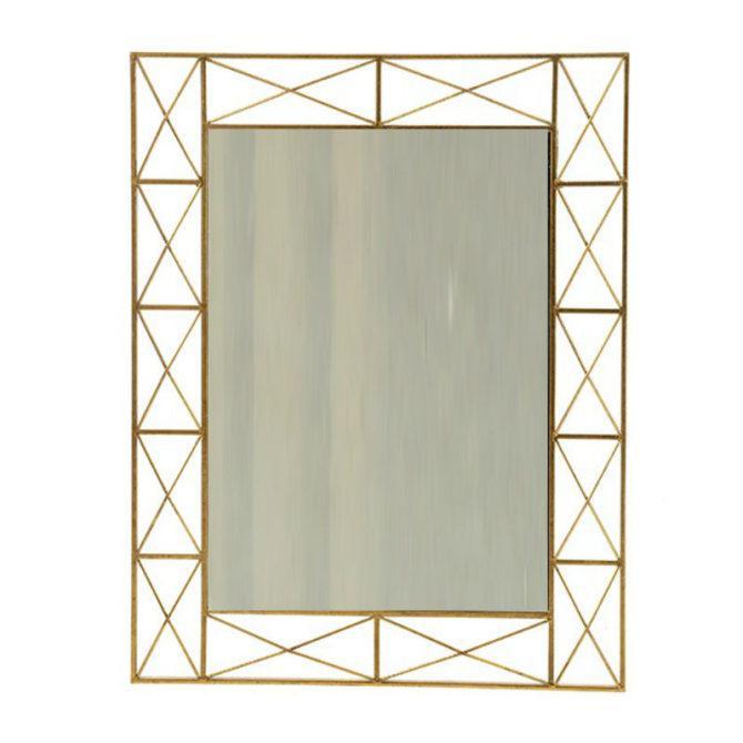 Μεταλλικός Καθρέφτης Με Χρυσό Πλαίσιο Η-330096