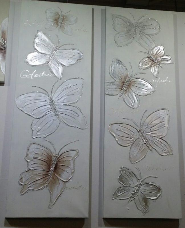 Ανάγλυφες πεταλούδες σε μακρόστενο καμβά 40Χ120 Μ-210532