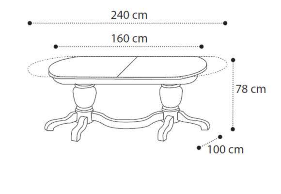 Οβάλ Τραπέζι Με Επεκτάσεις 160(+80)Χ100 CG-122039