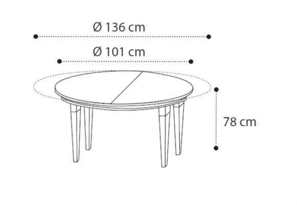 Στρογγυλό Ανοιγόμενο Φ101(+35) Τραπέζι Σε Κερασί Απόχρωση CG-122041