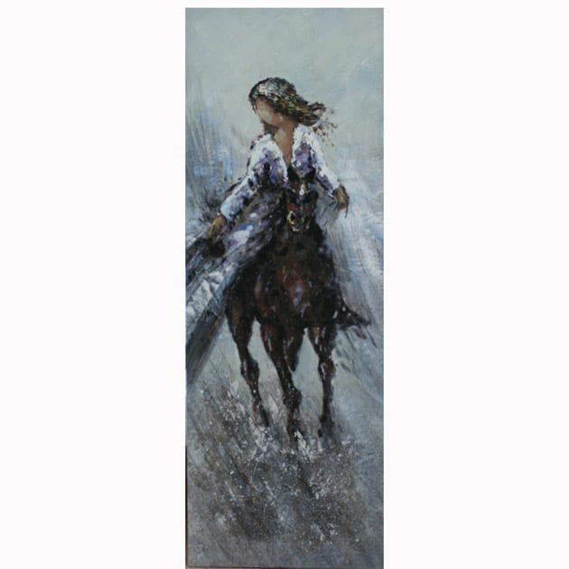 Γυναίκα πάνω σε άλογο που καλπάζει στη βροχή 50Χ150Χ4 Μ-210529