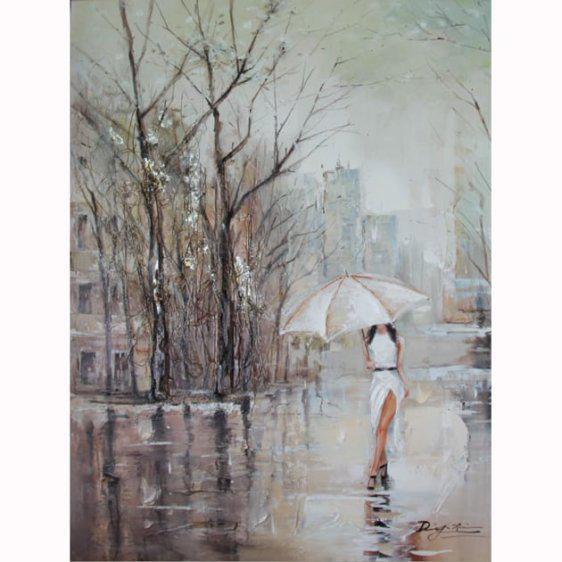 Γυναίκα σε βροχερό τοπίο 60Χ90 Μ-210543