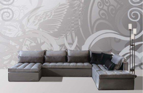 Σύνθεση Καναπέ σε γκρί χρώμα και με ιδιαίτερο κάθισμα AS-100083