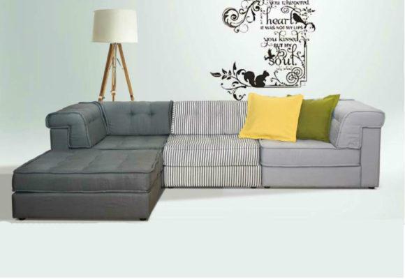Οικογενειακός Καναπές Με Πουφ Σε Σχήμα Γωνίας AS-100085