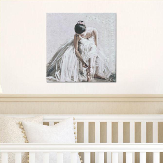 Μπαλαρίνα με λευκό εντυπωσιακό φόρεμα 80Χ80 Μ-210539