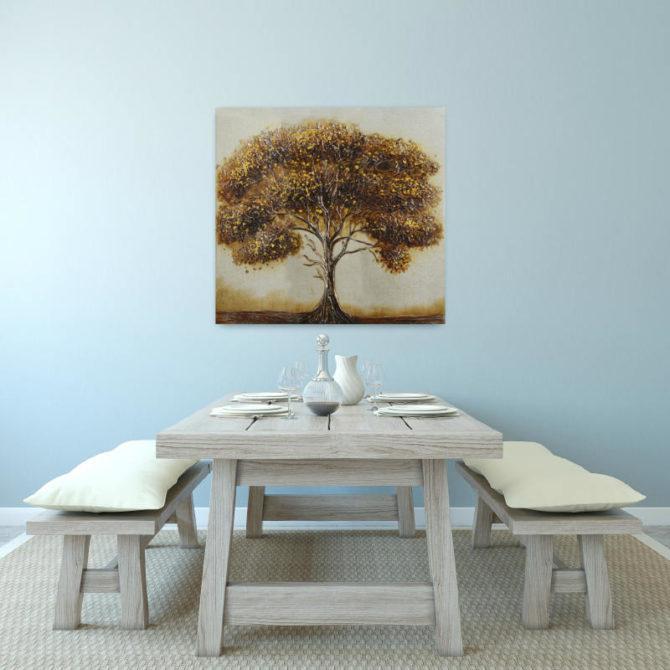 Πίνακας με δέντρο σε καφέ αποχρώσεις 100Χ100 Μ-210526