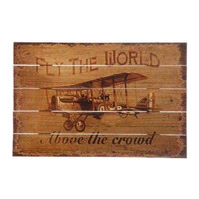 Ξύλινο Πινακάκι με Σχέδιο Αεροπλάνο 60Χ40 Η-210559
