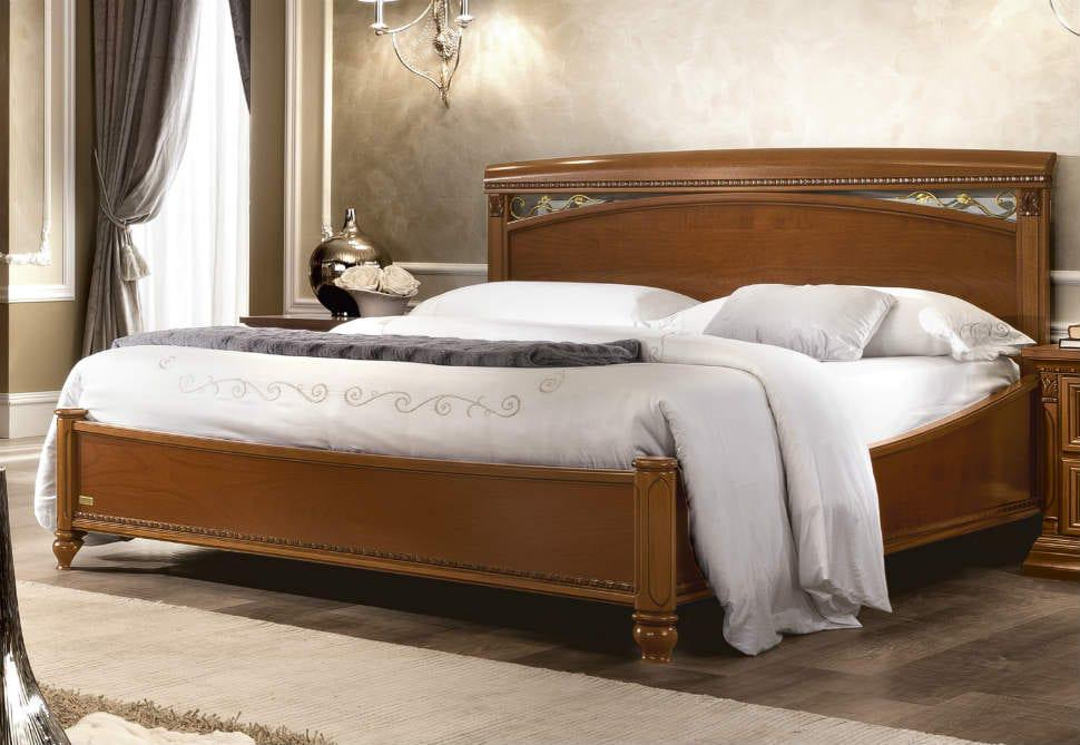 66224a3c060 Κλασικό Κρεβάτι Με Χρυσά Φύλλα Aπό Ξύλο Κερασιάς CG-370148 - Έπιπλα ...