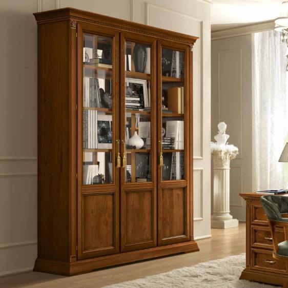 Τρίφυλλη Βιβλιοθήκη-Βιτρίνα Με Ξύλινα ή Γυάλινα Ράφια CG-127573/1