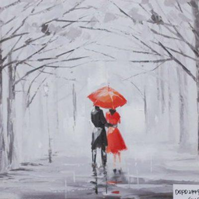 Ζευγάρι στη βροχή 80Χ80 Μ-210540