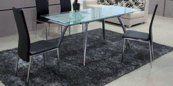 Τραπέζι Γυάλινο Επεκτεινόμενο Sar-216427, Διαστάσεις:125x80+25+25