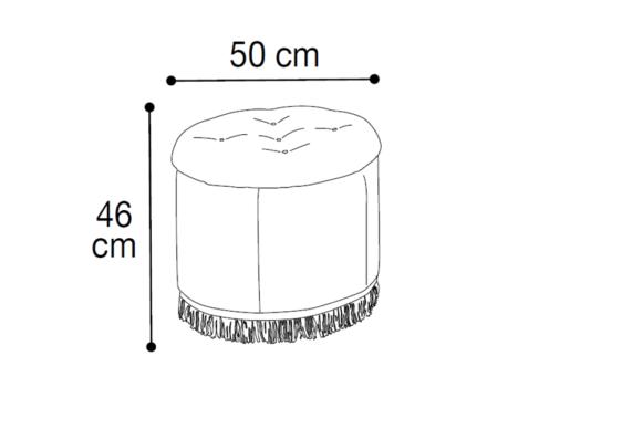 Στρογγυλό Πουφ Με Κρύσταλλα CG-315096