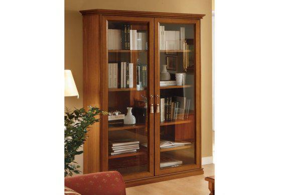 Βιβλιοθήκη- Βιτρίνα  Με Ξύλινα Ράφια CG-126583