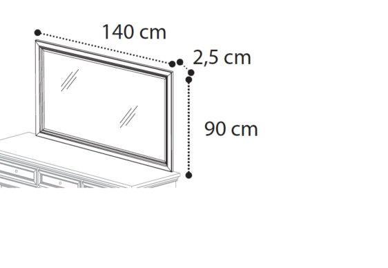 Λευκός 140Χ90 Καθρέφτης Με Χρυσές Γραμμές CG-330117