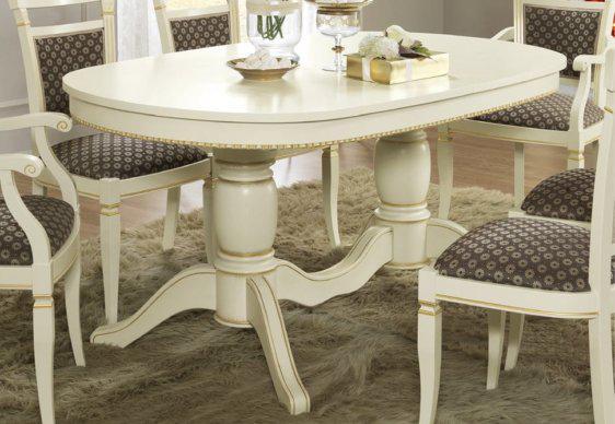 Ανοιγόμενο Λευκό Τραπέζι Με Ενωμένα Ποδαρικά 160(+80)Χ100  CG-122042