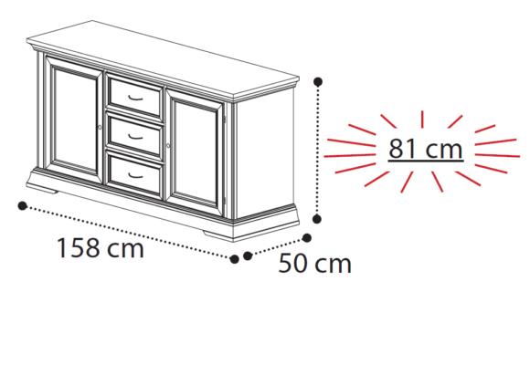 Δίφυλλος Μπουφές Με Κεντρικά Συρτάρια Λευκός ή Κερασί CG-138527