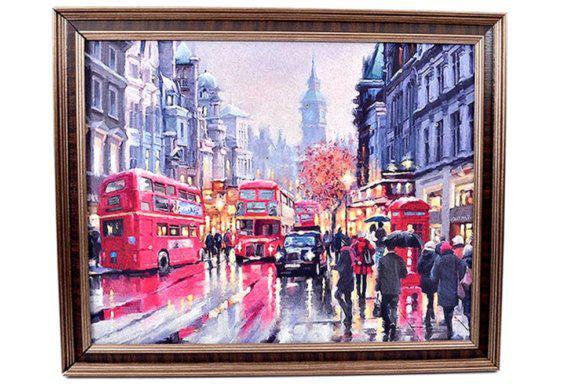 Κάδρο Ζωγραφικής Με Θέμα Πολυσύχναστο Λονδίνο Fl-210571