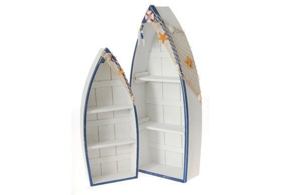 Ραφιέρα Βάρκα Λευκή Ξύλινη Σετ 2 Τεμάχια H-125088