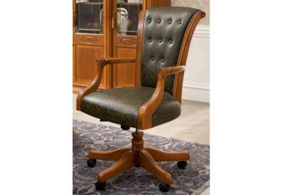 Κλασική Τροχήλατη Καρέκλα Γραφείου με Δέρμα και Ξύλο CG-080386