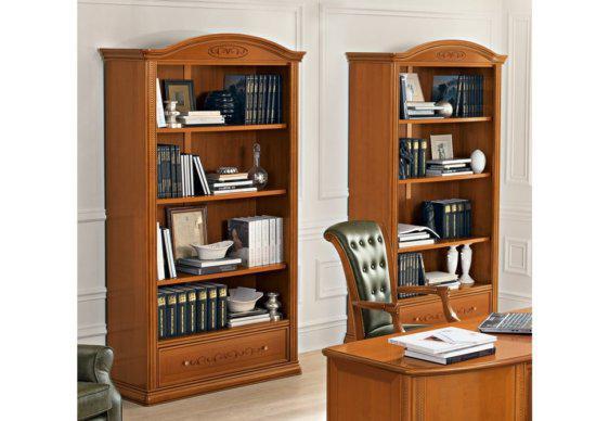 Βιβλιοθήκη Γραφείου με Ξύλινα Ράφια και Συρτάρι CG-126584