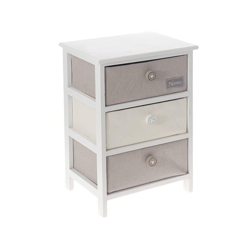 Λευκή Συρταριέρα Με Τρία Υφασμάτινα Ράφια Η-380018