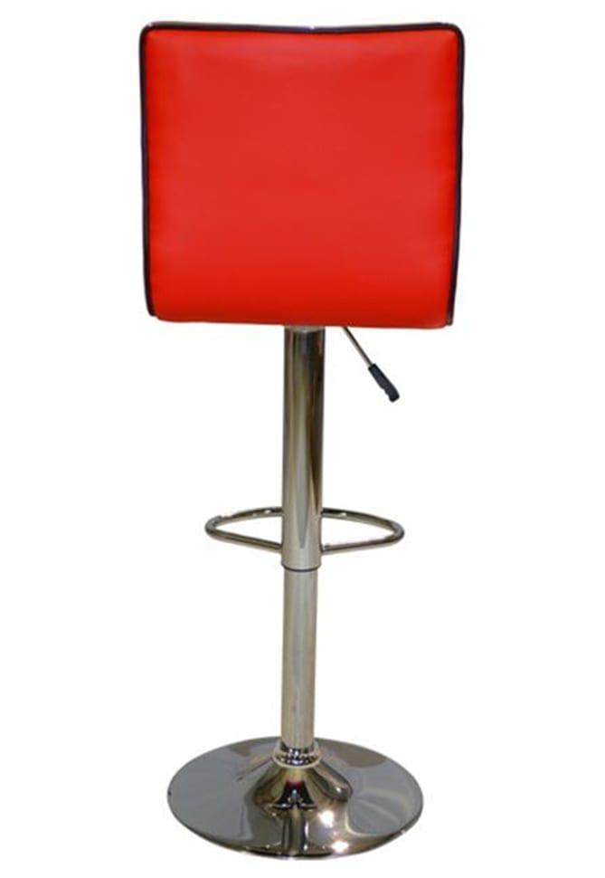 Κόκκινο Σκαμπό Μπαρ-Κουζίνας από Τεχνόδερμα με Αμορτισέρ ΒΒ-401078