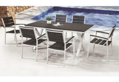 Μοντέρνο Τραπέζι Εξωτερικού Χώρου με Λευκό Σκελετό AG-220447